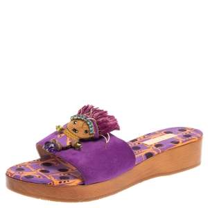 Etro Purple Suede Embellished Open Toe Slide Sandals Size 39