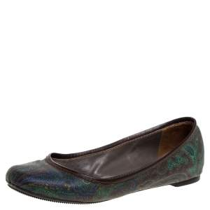 Etro Paisley Multicolor Printed Coated Canvas And Leather Trim Ballet Flats Size 38