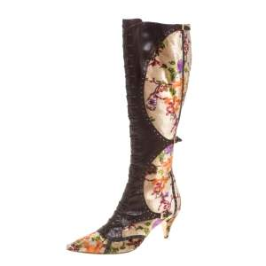 Etro Brown/Beige Floral Stampa Fiore Tall Velvet And  Leather Boots Size 39.5