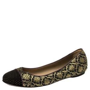 Etro Black/Gold Jacquard Fabric Ballet Flats Size 37