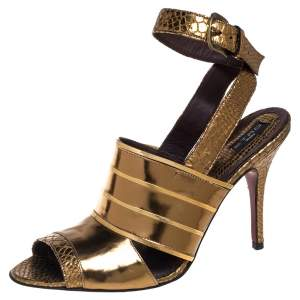 Etro Gold Python Embossed And Leather Ankle Wrap Sandals  Size 40