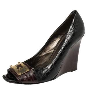 Etro Black/Burgundy Croc Embossed Leather Embellished Open Toe Wedge Pumps Size 40.5