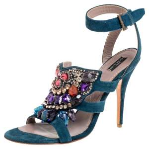 Etro Blue Suede Embellished Open Toe Ankle Strap Sandals Size 41