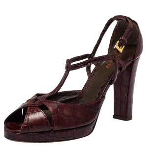 Etro Brown Croc Embossed Leather Peep Toe T Strap Sandals Size 37.5