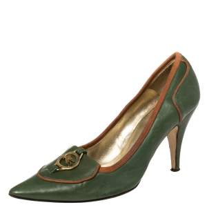 Etro Green Leather Logo Embellished Pointed Toe Pumps Size 38.5