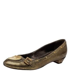 Etro Gold Leather Embellished Studs Ballet Flats Size 38
