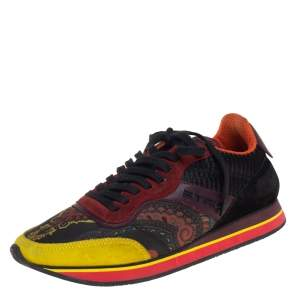 Etro Multicolor Paisley Fabric And Suede Lace Up Sneakers Size 38