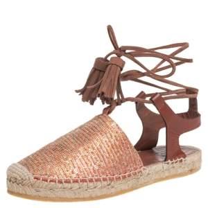 Etro Metallic Multicolor Textured Leather Espadrille Ankle Wrap Flats Size 36
