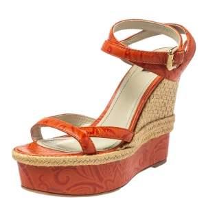 Etro Orange Leather Espadrille Wedge Sandals Size 41