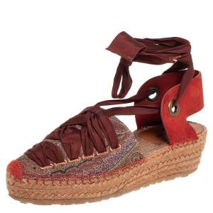 Etro Brown Canvas And Suede Espadrille  Sandals Side 37
