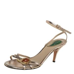 Etro Gold Leather Ankle Strap Sandals Size 41