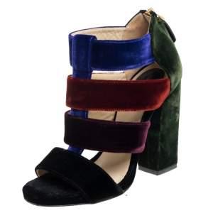 Etro Multicolor Velvet Caged T-Strap Sandals Size 36