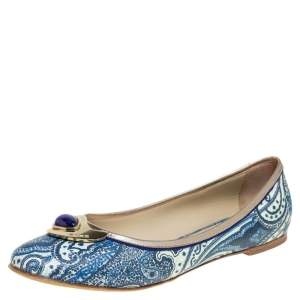 Etro Multicolor Coated Canvas And Leather Trim Embellished Ballet Flats Size 40.5
