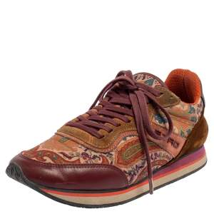 Etro Multicolor Paisley Fabric And Suede Lace Up Sneakers Size 37