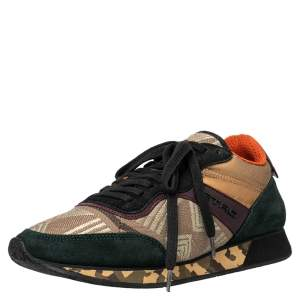 Etro Multicolor Suede And Brocade Fabric Low Top Sneakers Size 37