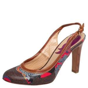 Etro Brown Paisley Print Coated Canvas and Leather Trim Slingback Pumps Size 37