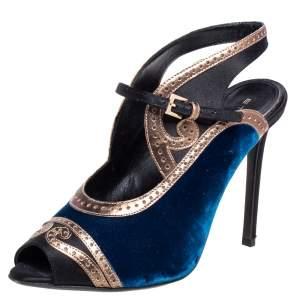 Etro Tri Color Velvet, Satin and Leather Peep Toe Sandals Size 38