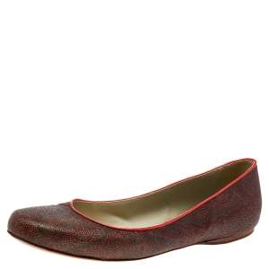 Etro Brown Coated Canvas Ballet Flats Size 40
