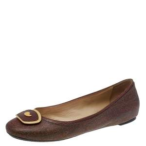 Etro Brown Paisley Printed Coated Canvas Ballet Flats Size 38