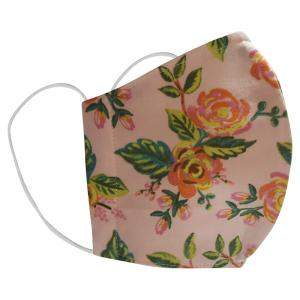 Non-Medical Handmade Peach Floral Printed Cotton Face Mask - Pack Of 2 (Available for UAE Customers Only)