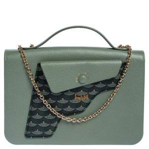 Faure Le Page Green Leather Calibre 21 Top Handle Bag