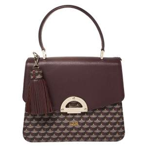 Fauré Le Page Burgundy Coated Canvas and Leather Parade Top Handle Bag