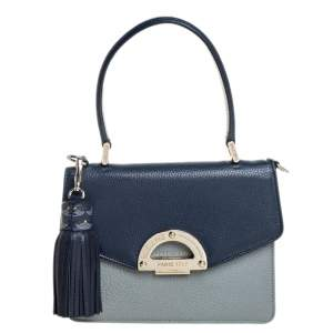 Faure Le Page Grey/Blue Leather Parade 19 Top Handle Bag