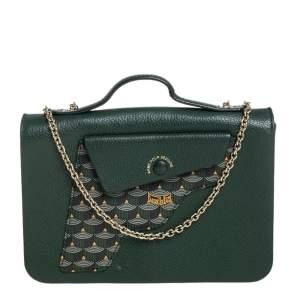 Fauré Le Page Green Leather Calibre 21 Top Handle Bag