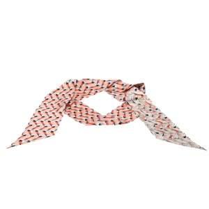 Fendi Peach Silk Twilly Creatures Bandeau Scarf