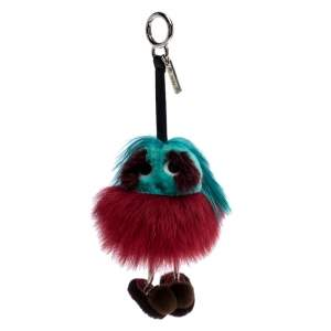 Fendi Red/Green Fox Fur Dad Mink Bag Charm
