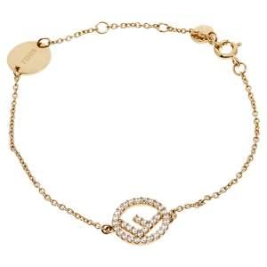 Fendi F is Fendi Crystal Gold Tone Bracelet