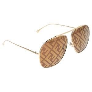 Fendi Gold 0407/G/S Aviators Sunglasses