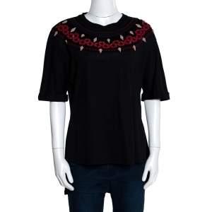 Fendi Black Cotton Embellished Neckline Short Sleeve Top M