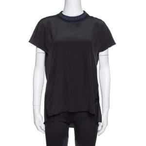 Fendi Black Silk Ribbed Logo Neck Trim Detail Top S