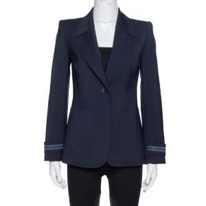 Fendi Navy Blue Wool Striped Cuff Detail Tailored Blazer XS