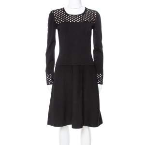 Fendi Black Knit Perforated Detail A-Line Dress M