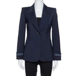 Fendi Navy Blue Wool Striped Cuff Detail Tailored Blazer M