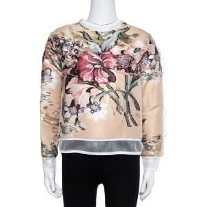 Fendi Beige Cotton Blend Layered Floral Top S