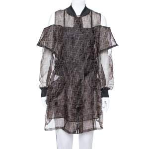 Fendi Black & Brown Organza Zucca Monogram Sheer Cold Shoulder Jacket M