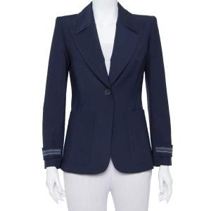 Fendi Navy Blue Wool Blend Striped Cuff Detail Tailored Blazer S