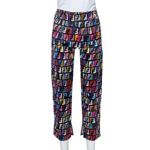 Fendi Multicolor Synthetic Cropped Fun Fair Pants XS