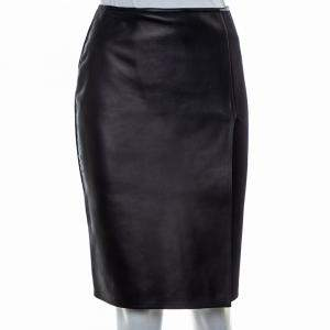 Fendi Black Leather & Knit Slit Detail Knee Length Skirt S