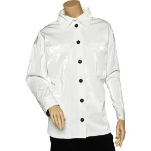 Fendi White Synthetic Coated Button Front Jacket M