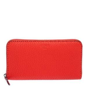 Fendi Orange Leather Selleria Zip Around Wallet