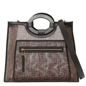 Fendi Brown Mesh Medium Runaway Tote Bag