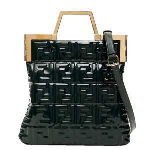 Fendi Dark Green Shiny Vinyl Flat Tote Bag
