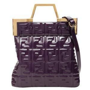 Fendi Purple Shiny Vinyl Flat Tote Bag