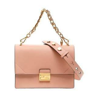 Fendi Pink Leather Kan Shoulder Bag