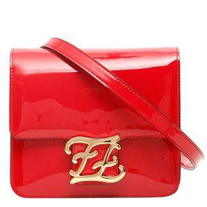 Fendi Red Patent Leather Karligraphy Shoulder Bag
