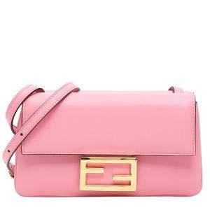 Fendi Pink Leather Baguette Duo Bag